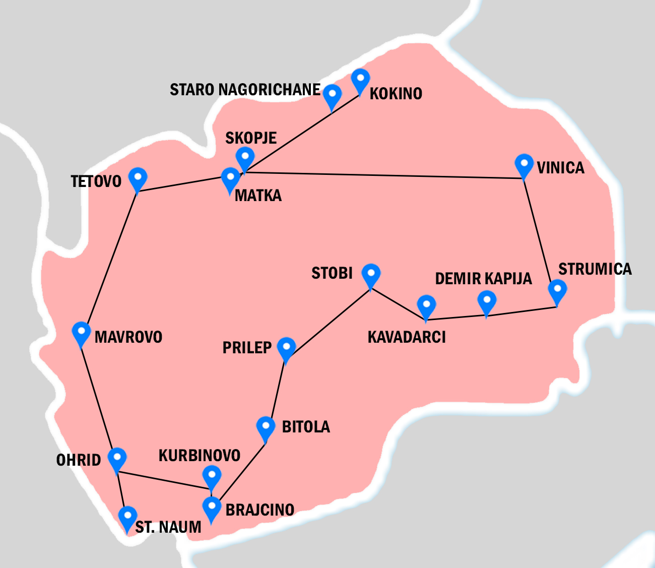 Pink map of Macedonia, with places visiting in Archaeological tour throughout Macedonia