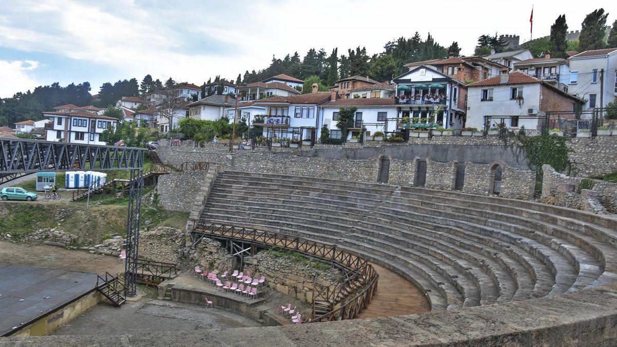 The ancient theater with stage on the center and houses around it, Ohrid