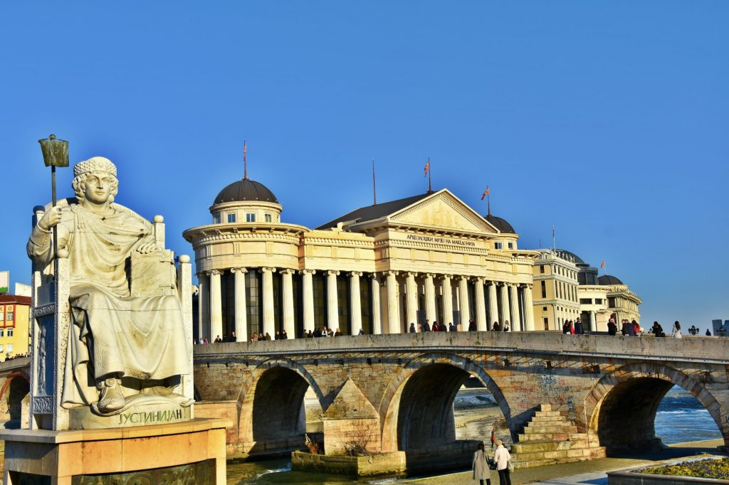 Monument of emperor Justinian, Stone Bridge and Archaeological museum in Skopje