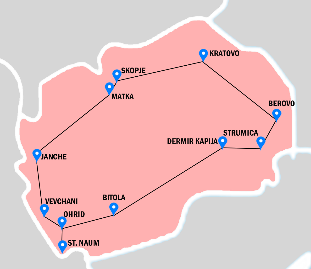Pink map of Macedonia, with places visiting in Real food adventure tour throughout Macedonia