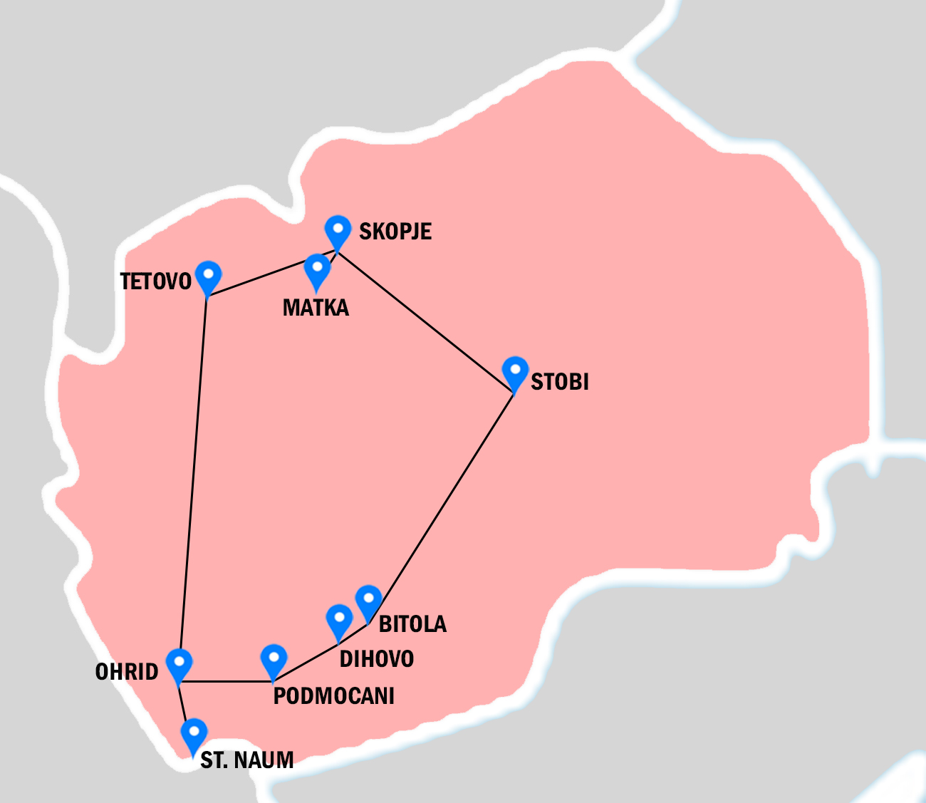 Pink map of Macedonia, with places visiting in Macedonian rhapsody tour throughout Macedonia