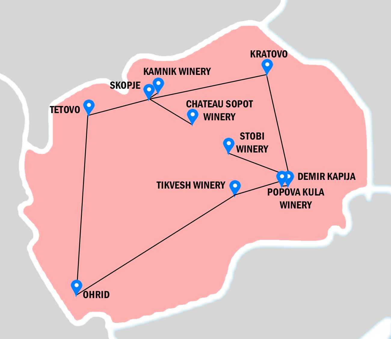 Pink map of Macedonia, with places visiting in Wine tour throughout Macedonia