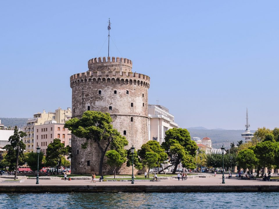 Thessaloniki White tower on the shores of the Aegean Sea