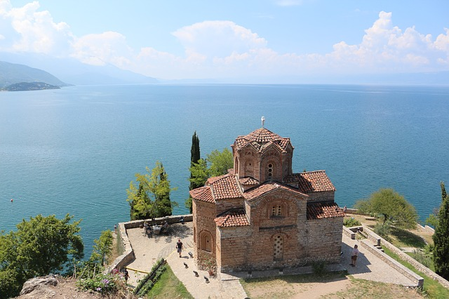 View on the church St. Kaneo with Ohrid lake behind