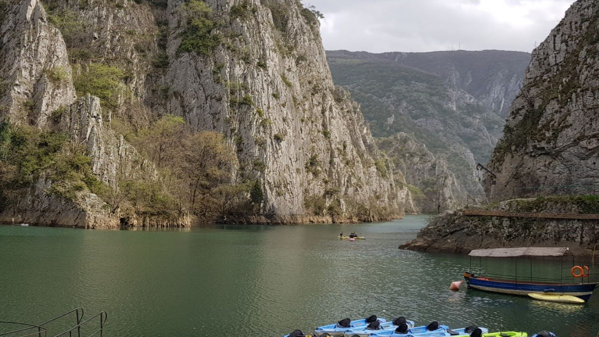 Kayaks, boats at Matka canyon