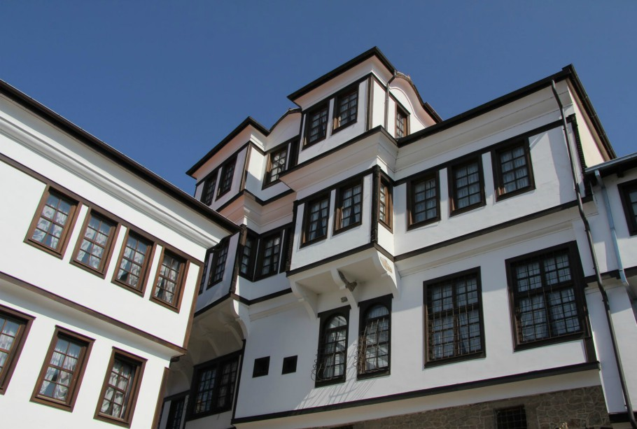 Traditional Ohrid architecture from 19th century, house with 4 floors, higher floors are wider