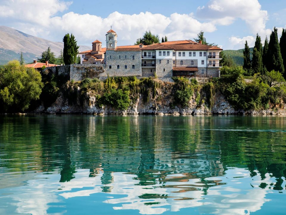 St. Naum monastery complex reflecting in Ohrid lake