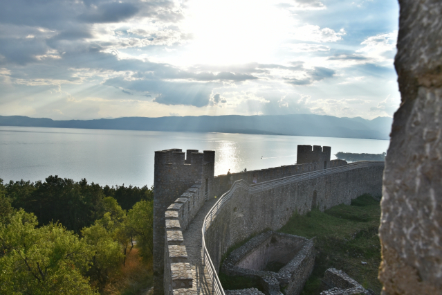 View on Ohrid lake from one of the towers of Tzar Samoil fortress