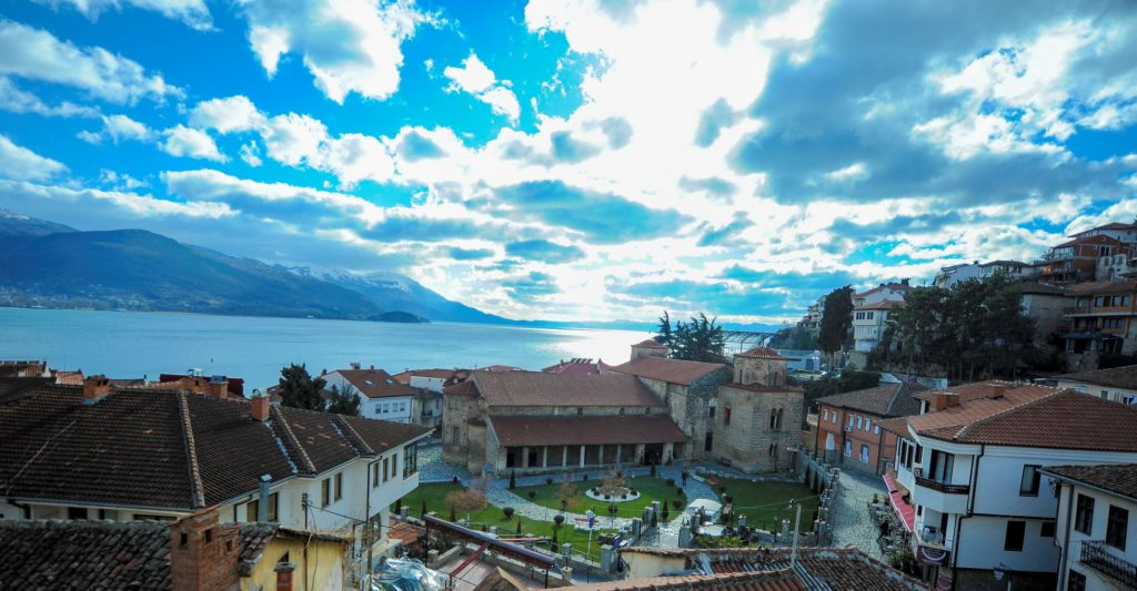 St. Sofia church, houses in the old part of Ohrid and Ohrid lake