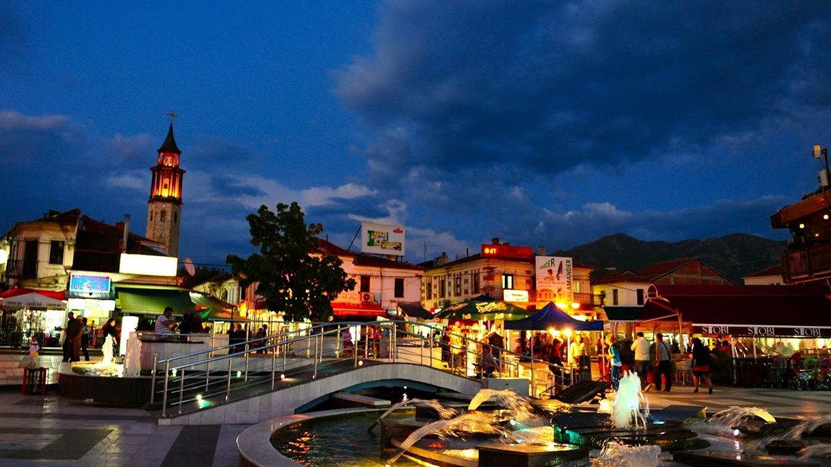 A night view of the center of the town Prilep
