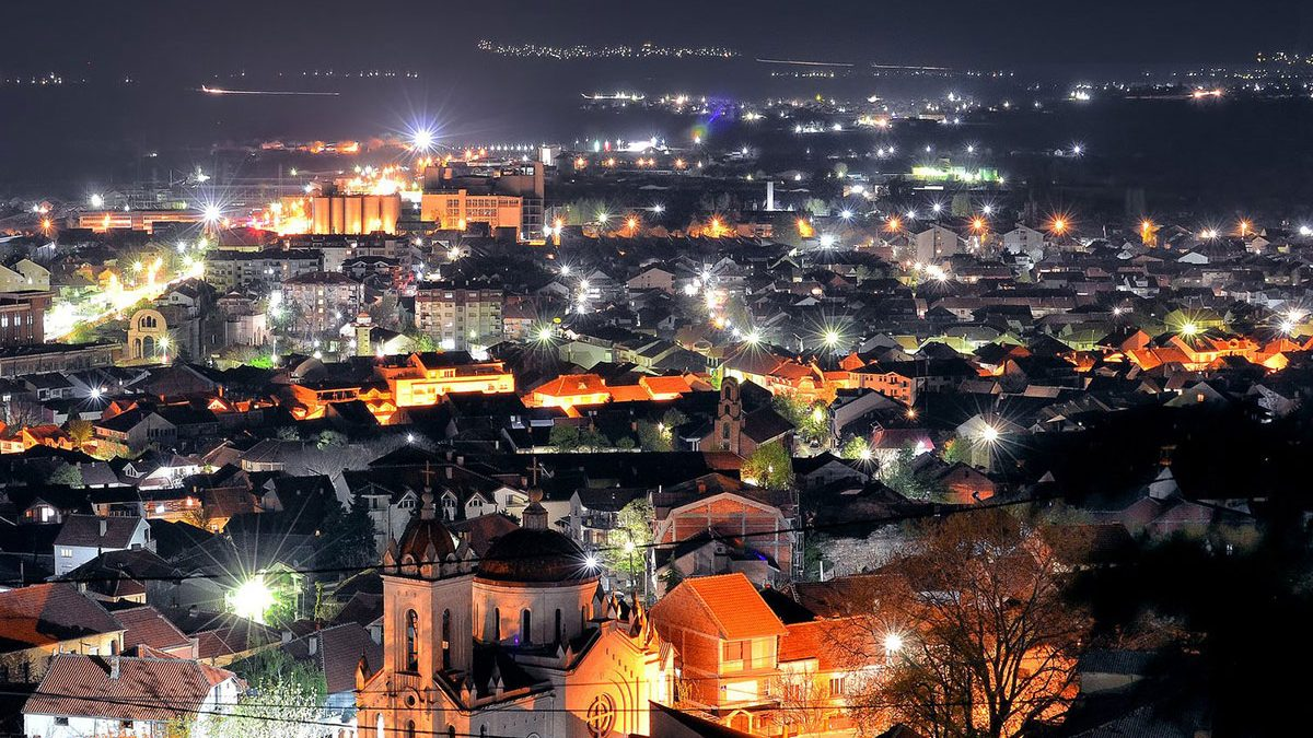 A night view of the town Strumica, from above