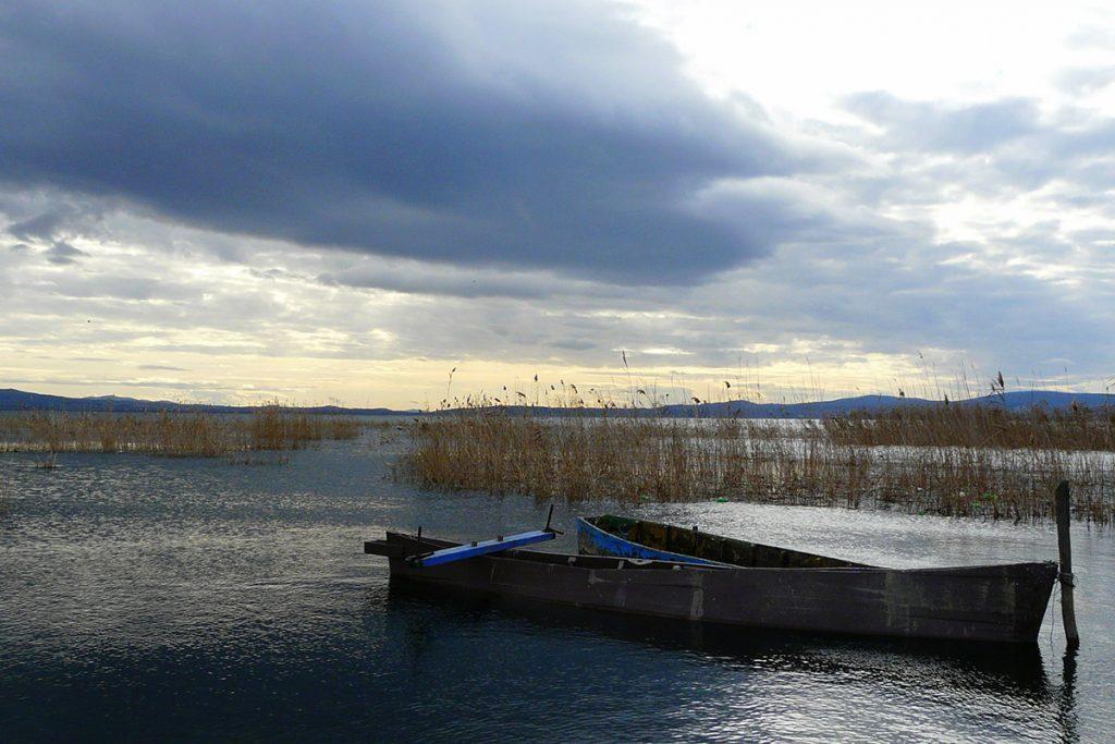 A boat in Lake Ohrid