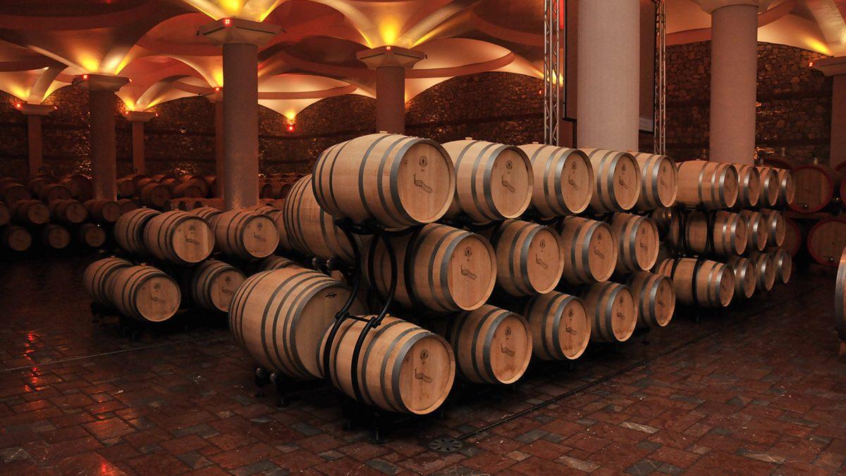 Wooden barrels in the cellar of Stobi winery