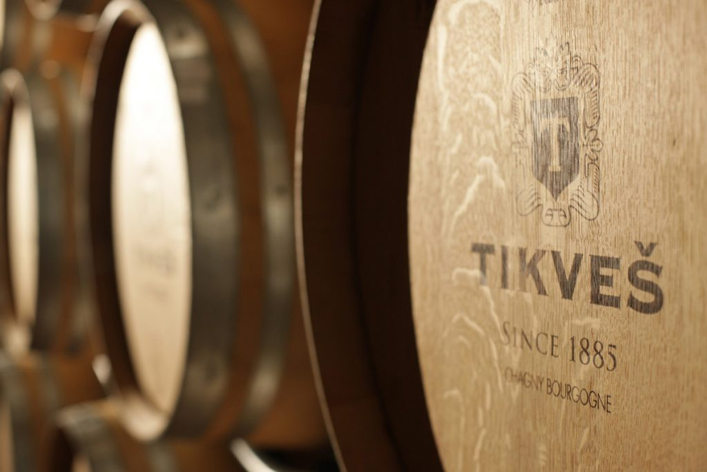 Wooden barrels in Tikvesh winery