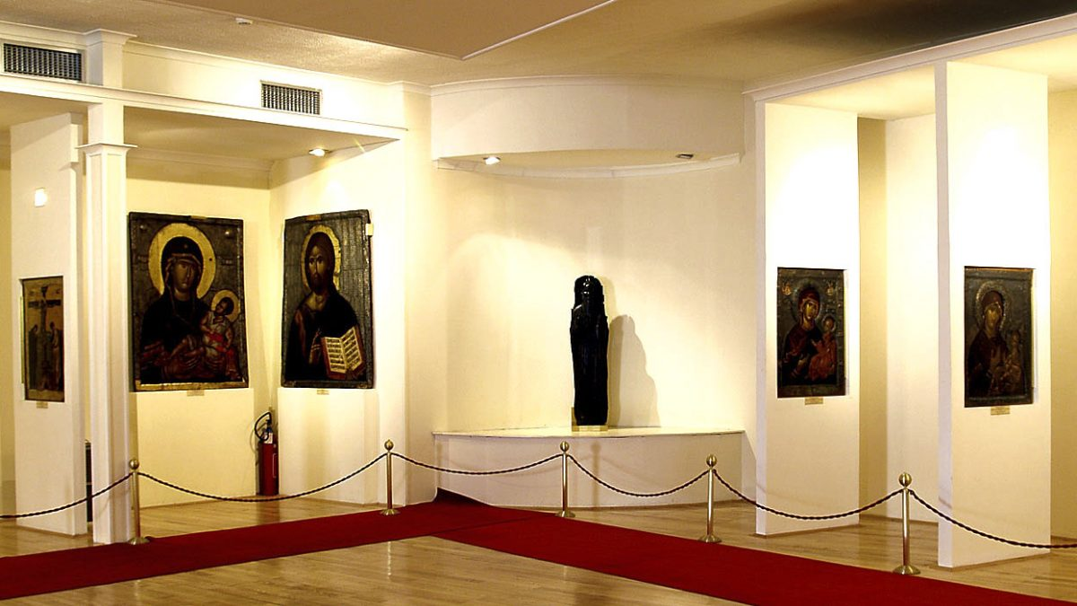 Icons and one wooden sculpture of Saint Clement in the Icon Gallery in Ohrid