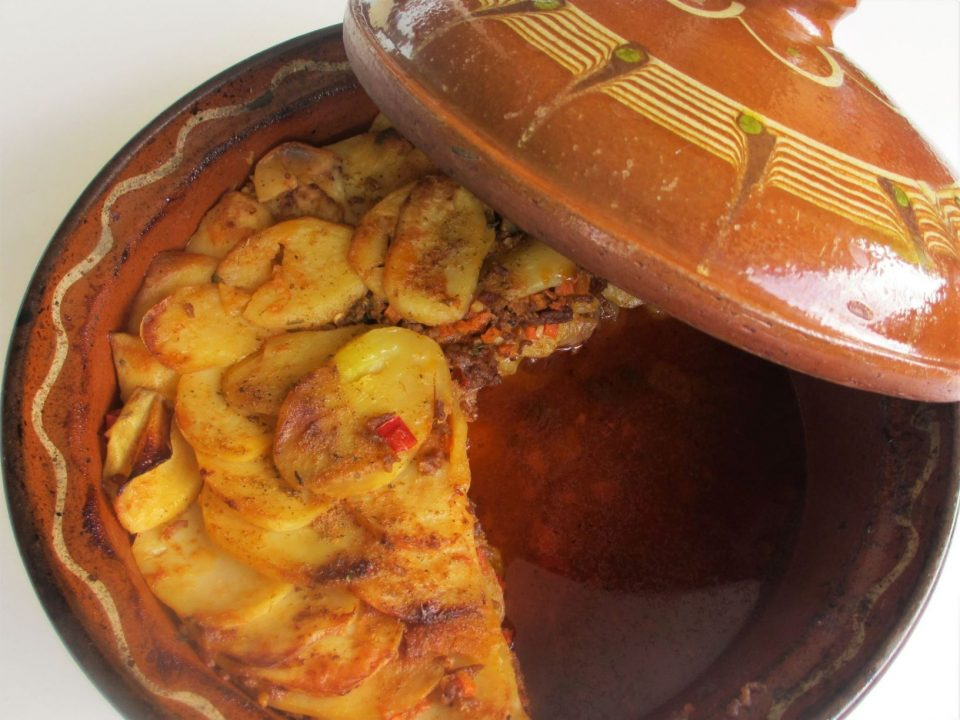 Musaka, a traditional dish made of potatoes, minced meat and herbs