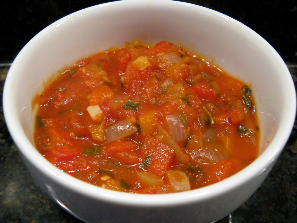 Letna Mandza (a summer stew), made of fried peppers, tomatoes, onions and parsley)