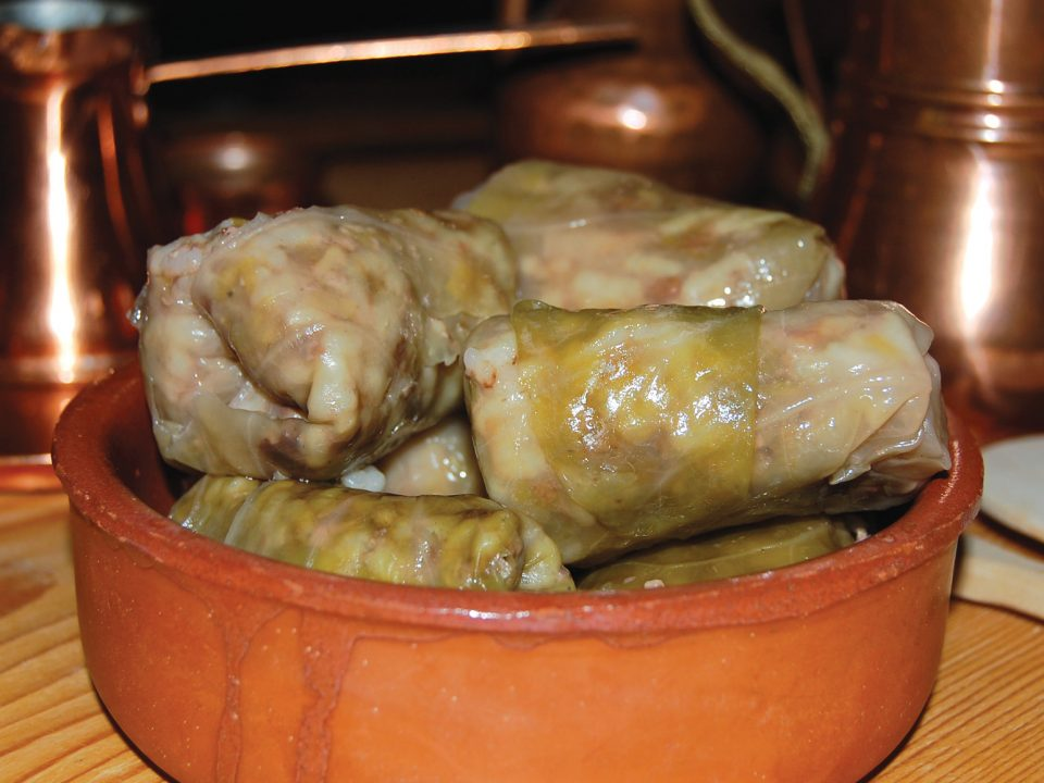 Sarma, a traditional meal made of rice and minced walnut rolled in a cabbage leaf