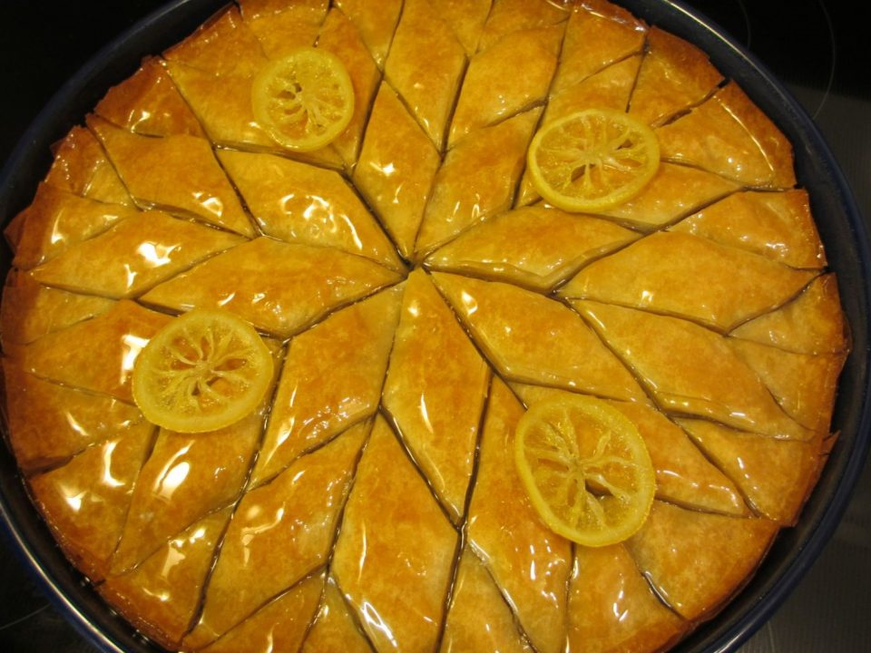 Baklava with lemon circles