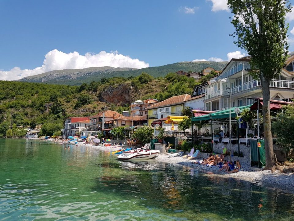 The beach in the small fishermen village of Trpejca, called the Macedonian San Tropez