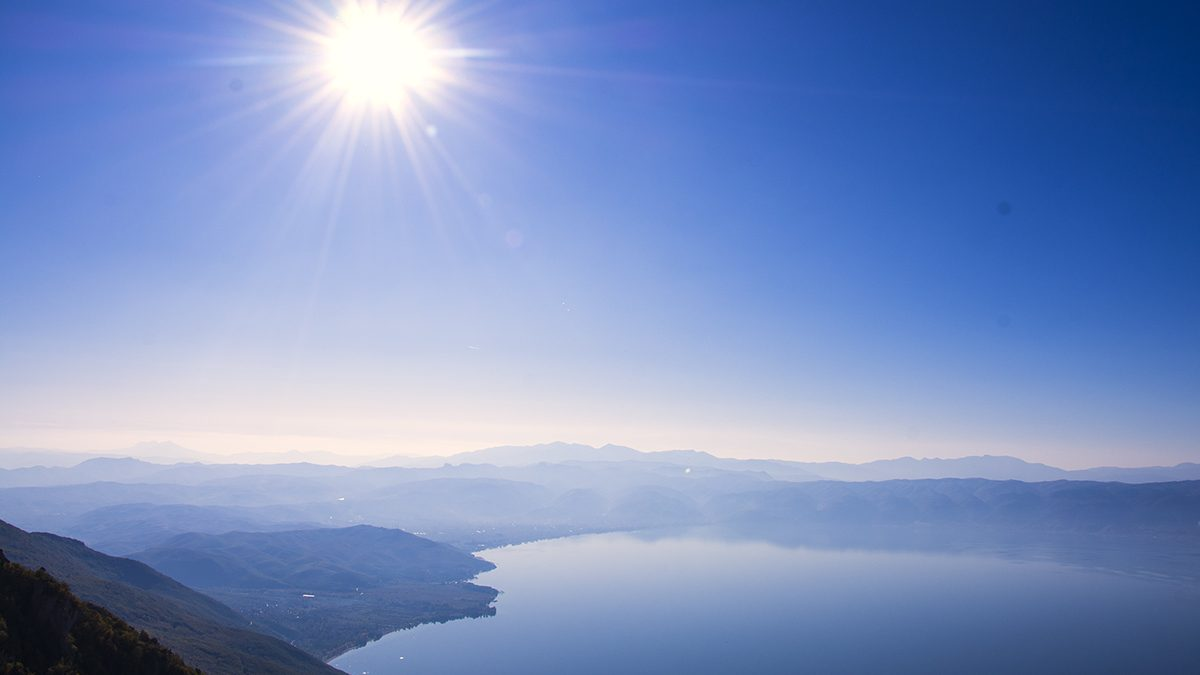 View on Ohrid lake and Albanian mountains from 1500m viewpoint on Galichica mountain in Macedonia