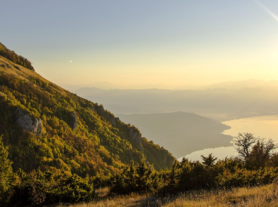 Sunset view on Ohrid lake from Galichica mountain