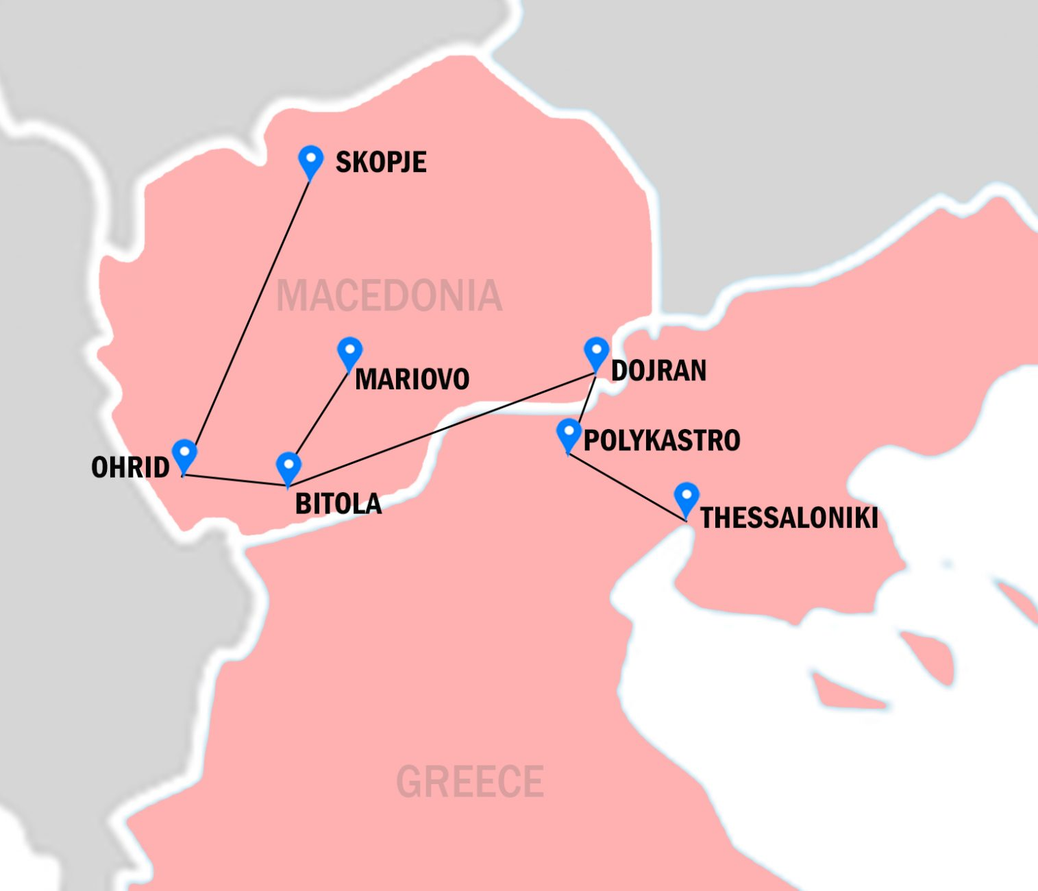 Map of Greece and Macedonia colored in pink, places and cities visited by World War One marked by pins