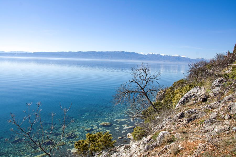 View of the clear water of Ohrid lake with small trees, with mountains with snow on behind