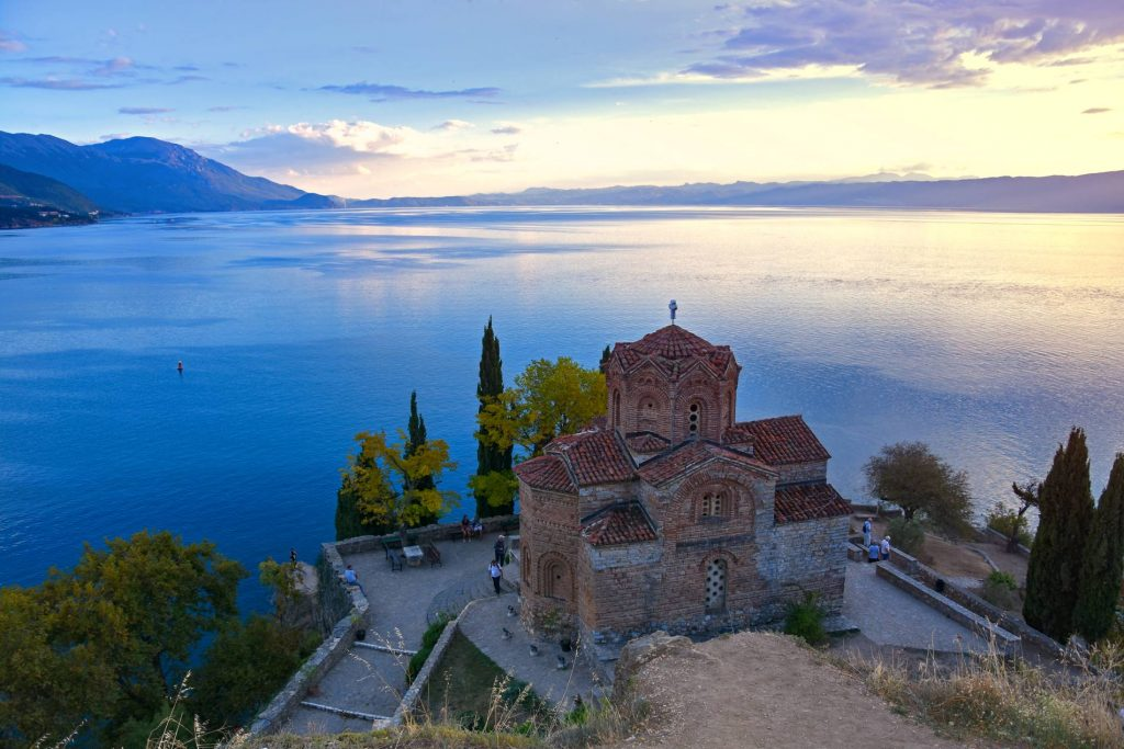 View on church St.John in Kaneo, Ohrid and Ohrid Lake in sunset