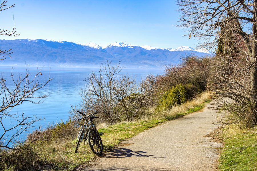 Two bikes on the bike road near the coast of Ohrid lake