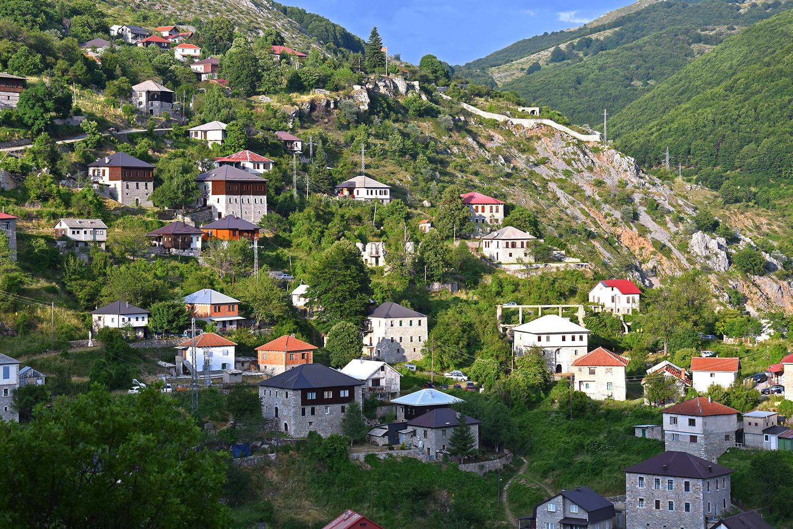 Houses with traditional architecture in the village Galichnik