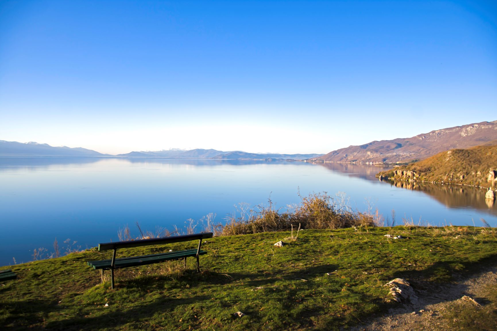 View on Ohrid lake from the hill above Trpejca village