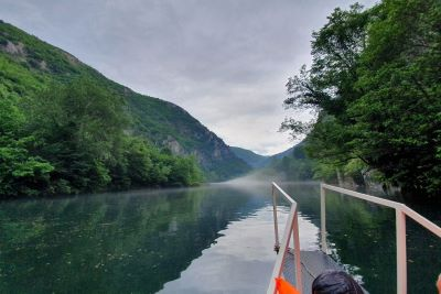 Treska river with fog and trees on the side in Matka canyon