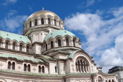Alexander Nevrski cathedral with Golden and green roof in Sofia, Bulgaria.