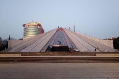 Pyramid shape building in the center of Tirana, Albania.