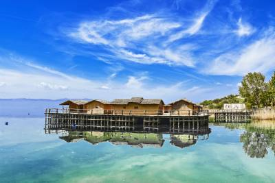 Reconstruction of prehistoric settlement in calm Ohrid lake and sunny weather