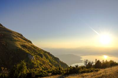 Mountain Galichica with view on Ohrid lake in Sunset