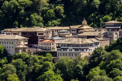 Sain John Bigorski Monastery complex with church in the center, with forest around.