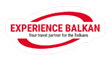Red letters on white background logo of Experience Balkan,