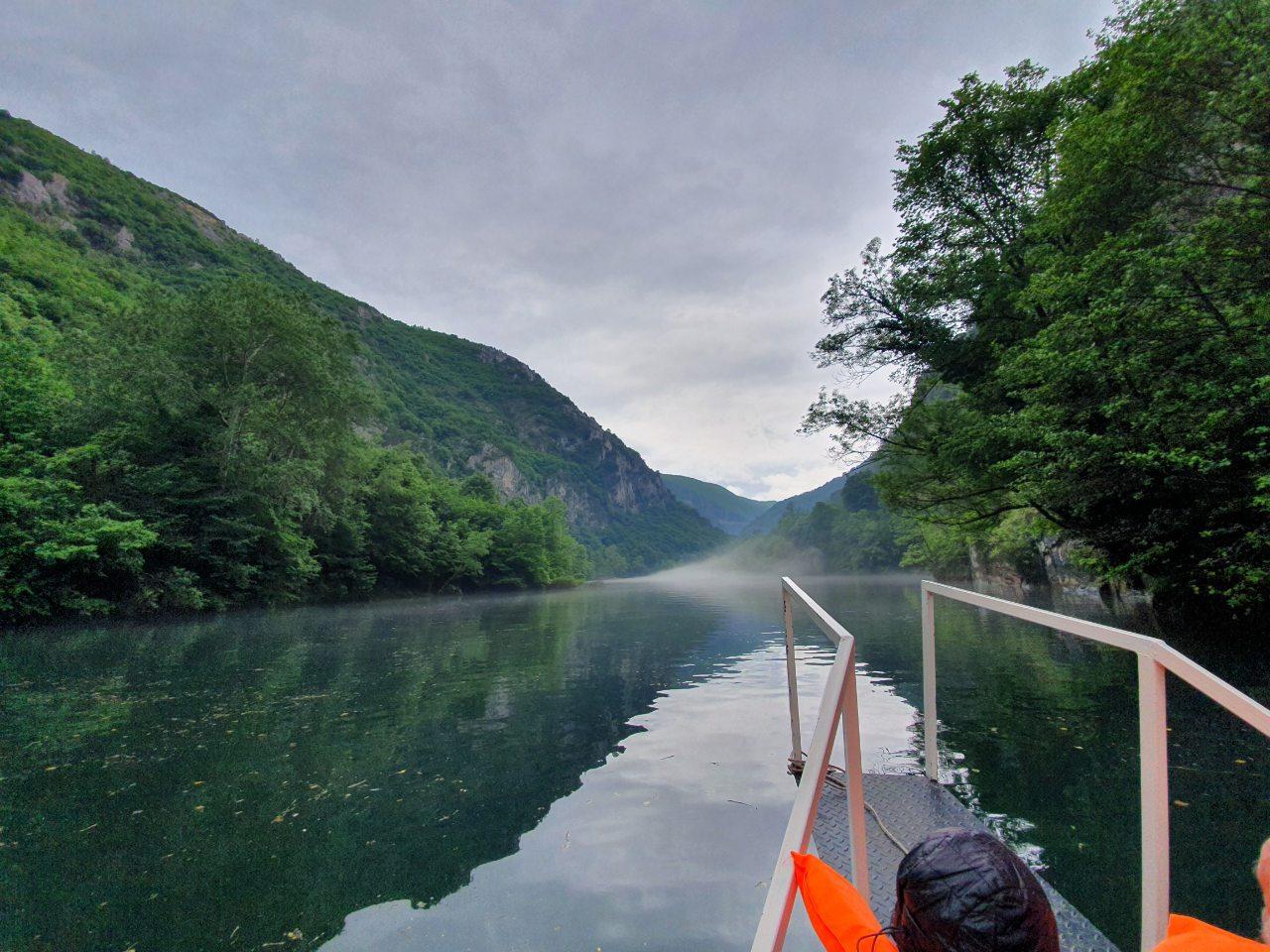 Treska river with fog in Matka canyon w