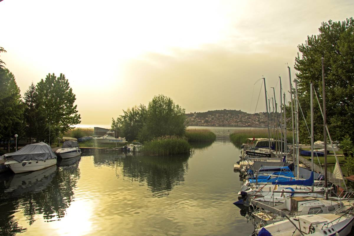 Ohrid marina in sunset