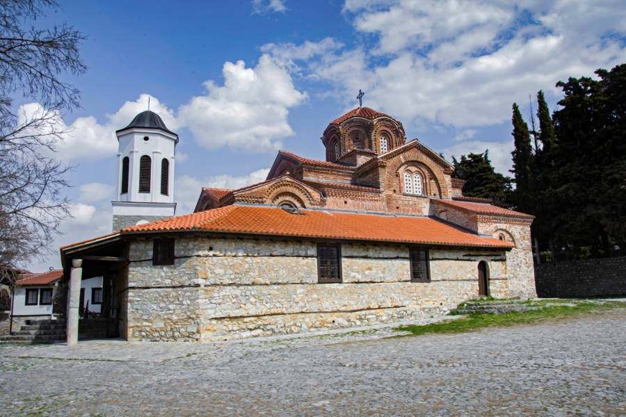 The Holy Mother of God – Peribleptos in Ohrid with white towerbell next to the church