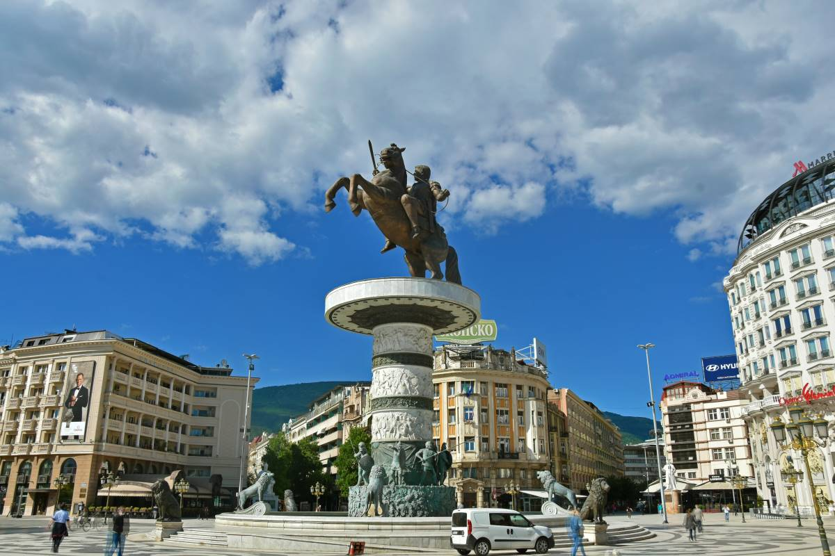 The monument and fountain of Alexander the Great in Skopje