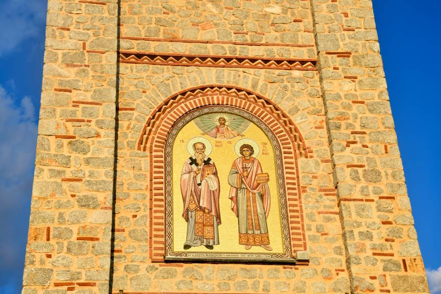 An icon of St Clement and St. Panteleimon on the exterior of the Church in Plaoshnik