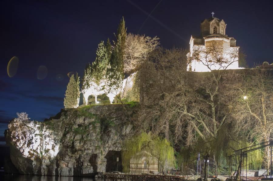 Saint John the Theologian Kaneo standing on the clif, lighten in night